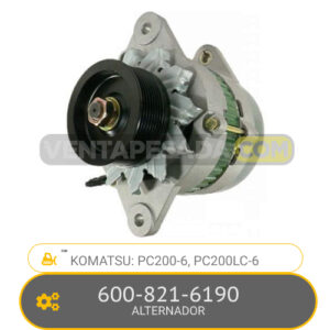 600-821-6190 ALTERNADOR PC200-6, PC200LC-6, KOMATSU