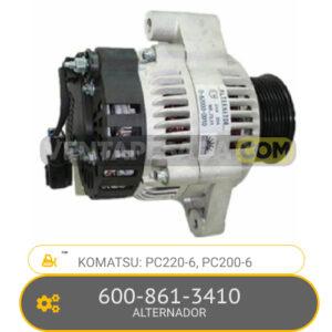 600-861-3410 ALTERNADOR PC220-6, PC200LC-6, KOMATSU