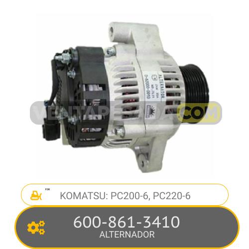 600-861-3410 ALTERNADOR PC200-6, PC220-6, KOMATSU
